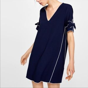 Zara Bow Shift Dress with Contrast Stitching